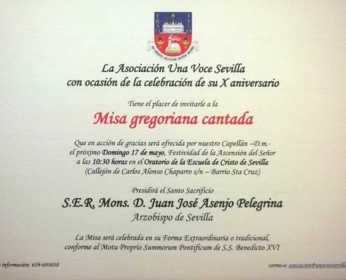INVITACION MISA CANTADA ARZOBISPO.May15